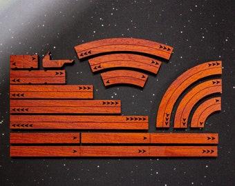 X-Wing Templates and Range Rulers - Hardwood - Padauk