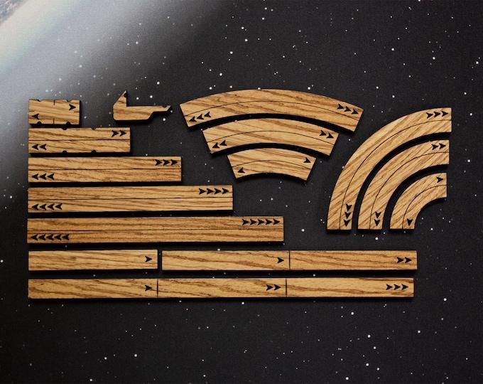 X-Wing Templates and Range Rulers - Hardwood - Zebrawood