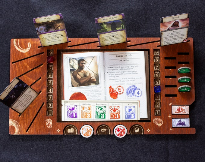 Featured listing image: Eldritch Horror Player Board - Cognac & Kona Wood Stain