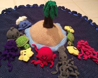 Crochet sea creature island play set ready to ship