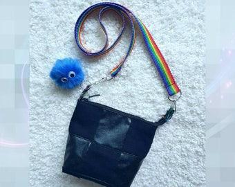 Black messenger bag, denim messenger bag, cosmetic bag,jeans bag, black denim bag Honorine de Lux
