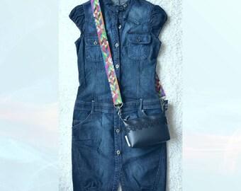 Black messenger bag, handbag, shoulder bag Micheline