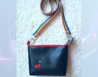 Black messenger bag, eco leather messenger bag, a handbag, shoulder bag Marine