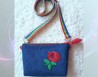 Denim messenger bag, a denim handbag, a jeans bag Margoux