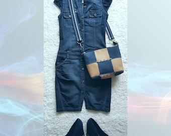 Denim messenger bag, cosmetics bag, denim cosmetic bag, jeans bag, denim bag Ginette de Lux