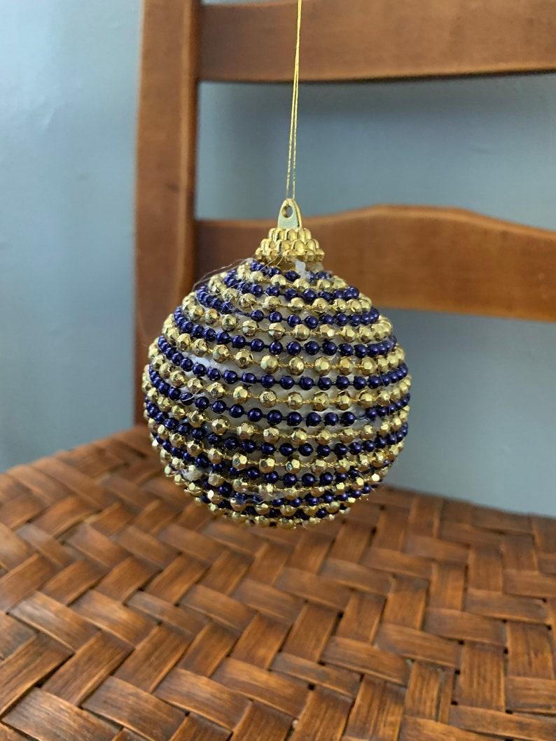 Handmade Ornaments Vintage Christmas Bulb 1960 Christmas Tree Ornaments 1-Blue Gold Beaded Holiday Ornament Retro Christmas Decoration