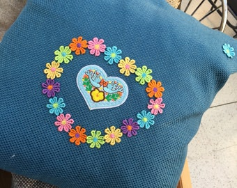 Handmade Teal Flower cushion