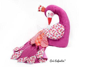 """Patron de couture PDF Peluche Paon, Patron coussin Oiseau, DIY poupée Animal, PDF déco Chambre enfant, Tutoriel Couture """"Plumes de Paon"""""""