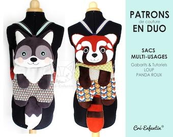 Duo Patrons de couture PDF - Sacs multi-usages Loup & Panda Roux