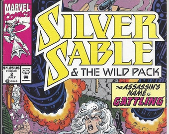 """Silver Sable & the Wild Pack #2 (July 1992) - """"The Assassin's Name is Gattling"""" - with Sandman and the Watchdogs - Marvel Comics"""