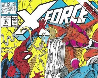 X-Force #4 (November 1991) - VF/NM -  Cable, Domino ,Spider-Man, S.H.I.E.L.D., Juggernaut, & Deadpool - Marvel Comics