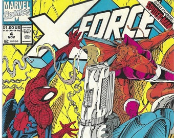 X-Force #4 (Nov 91) - BAR CODE - w/ Cable, Domino, Spider-Man, S.H.I.E.L.D., Juggernaut - Marvel Comics