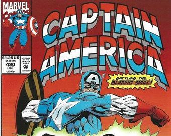 Captain America #420 (Oct 93) - w/ Nick Fury, S.H.I.E.L.D., Quasar vs Skull the Slayer & Night Shift - Marvel Comics