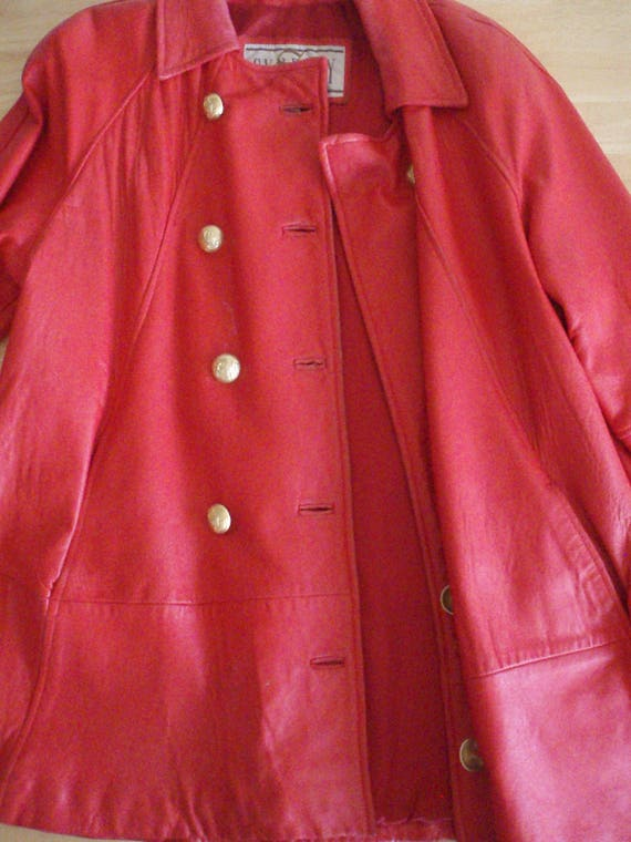 Women's Red Leather Coat - '70s Vintage, Beautiful