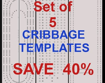 Set Of 5 Cribbage Board Templates