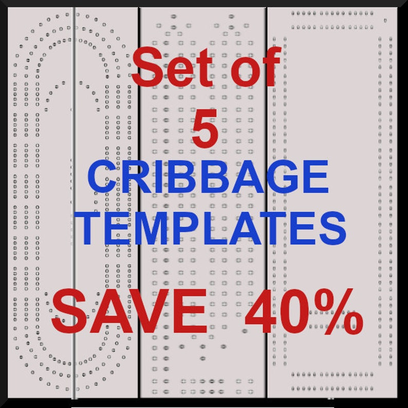 Cribbage Board Template | Set Of 5 Cribbage Board Templates Etsy