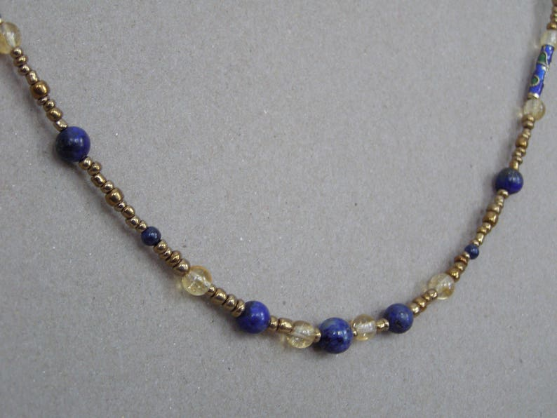 Women Gift Citrine Necklace Lapis Lazuli And Glass