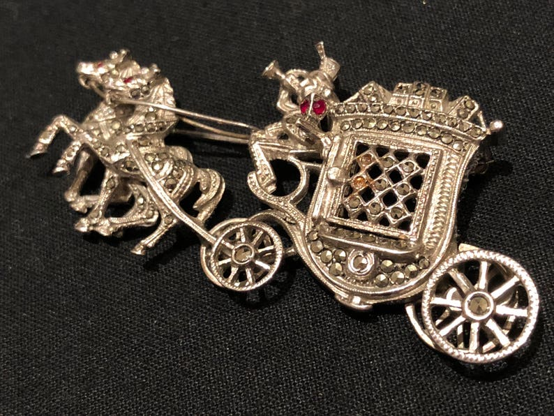 Glorious Vintage Art Deco Marcasite Brooch Pin Retro, Vintage 1930s-1980s Jewelry & Watches