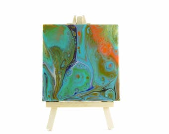 Acrylic Pour Painting on Mini Canvas with Easel, Resin Coated