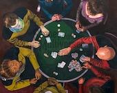 Star Trek TNG Art Print - The Next Generation - Picard Enterprise 1701D Poker Game Data Worf Riker Troi Crusher LaForge Oil Painting
