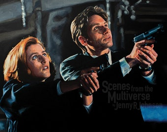 X-Files Art Print - Mulder & Scully Fox Mulder Dana Scully - The Truth is Out There - Gillian Anderson David Duchovny FBI Agent Oil Painting