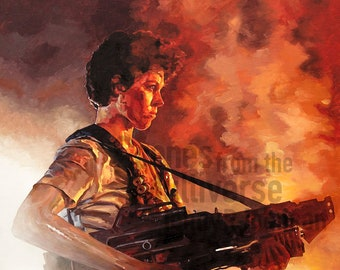 Ellen Ripley Aliens Art Print - Sigourney Weaver Xenomorph Flame Thrower Aliens Movie Oil Painting
