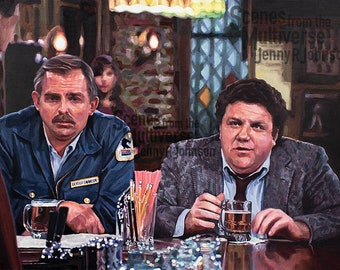 Cheers Norm Cliff Art Print - Classic TV Cheers Oil Painting - Pub Bar Man Cave Decor Fathers Day Dad Gift