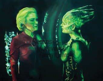 Star Trek Voyager Art Print - VOY - Janeway Borg Queen Endgame Final Episode Oil Painting