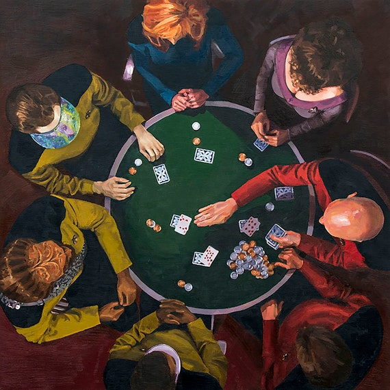 Star Trek TNG Art Print - The Next Generation - Picard Enterprise 1701D  Poker Game Data Worf Riker Troi Crusher LaForge Oil Painting