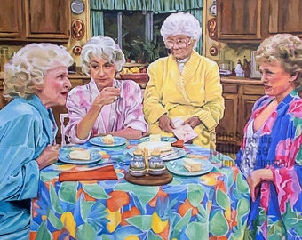 Golden Girls Art Print - Dorothy Rose Blanche Sophia - Thank You for Being a Friend Wall Decor - Picture it Sicily Cheesecake Oil Painting