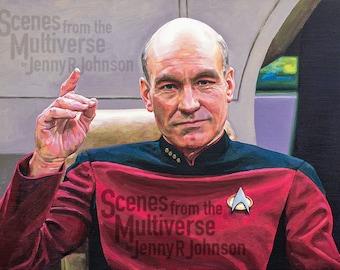 Star Trek Picard TNG Art Print - The Next Generation - Captain Jean Luc Picard Enterprise 1701D Sir Patrick Stewart Engage Oil Painting