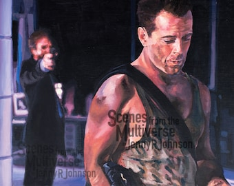 Die Hard John McClane Art Print - Bruce Willis Alan Rickman Oil Painting - Man Cave Art - Hans Gruber Nakatomi Plaza Yippee Ki Yay
