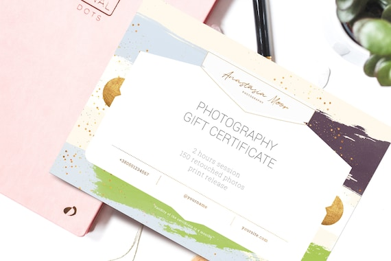 Gift Certificate Template Aurora Photography Gift Card Etsy