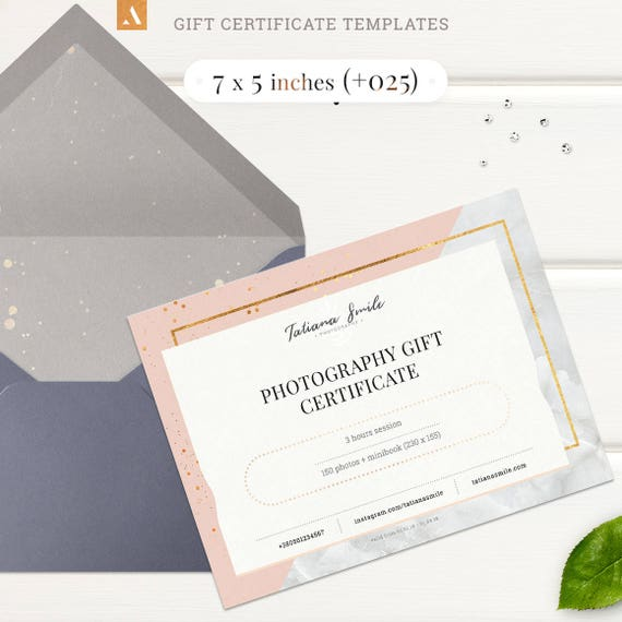 7 styles Gift Certificate Templates Photography Gift Card | Etsy