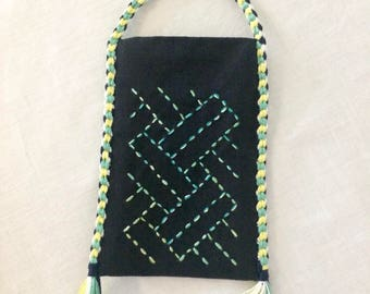 Japanese bag - kinchaku - with sashiko