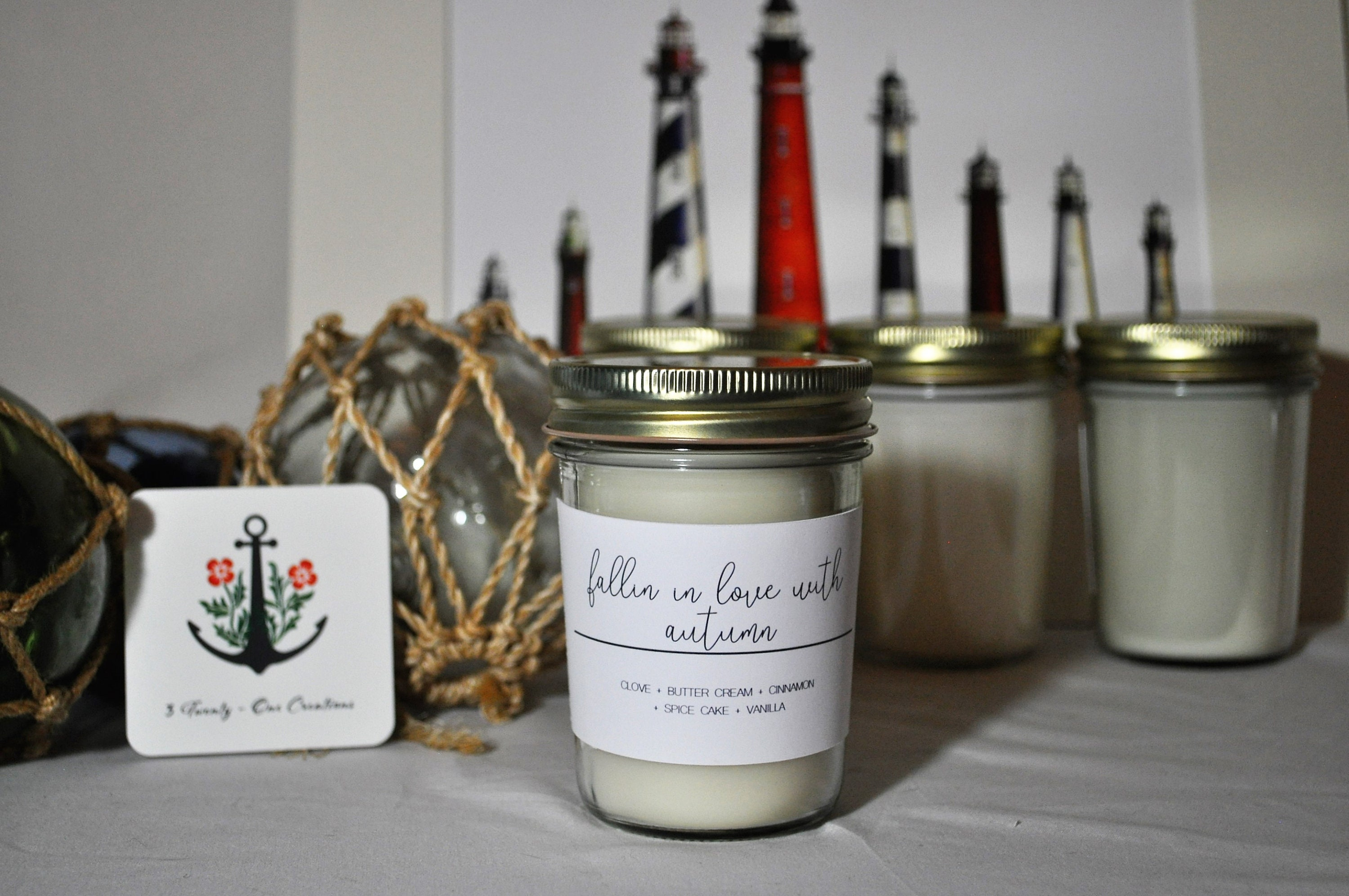 Falling In Love With Autumn Hand Poured All Natural Soy Wax Candle Scented Candles Cinnamon Vanilla
