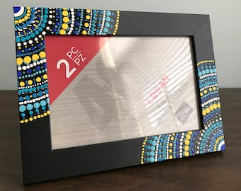 Cool Color Dot Mandala 4x6 Inch Picture Frame