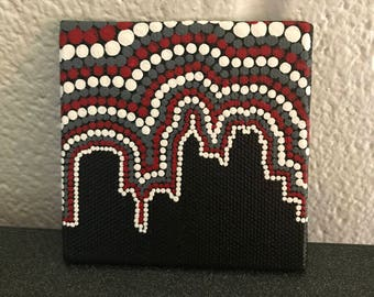 Raleigh Skyline Dot Painting Magnet