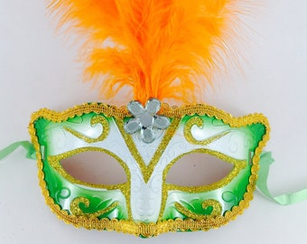 Green Masquerade Mask , Green masquerade mask, green Costume party mask, Green mask w/ Orange Feathers, party mask, Masquerade Mask