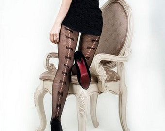 6801e8c925414 Lady's Plus Sized Bow Tie Backseam Fishnet Tights, Yelete Killer Legs Women  Black Tights / Pantyhose / Leggings