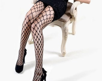 0ded9d90dfe43d Queen or One Size KILLER LEGS Ladies Extra Large Gauge Fishnet Pantyhose,  Black Fence Net Fishnet Seamless Pantyhose