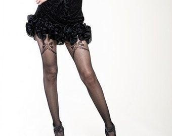 aa5e7db69 KILLER LEGS Faux Garter Bow Ladies Fishnet Tights