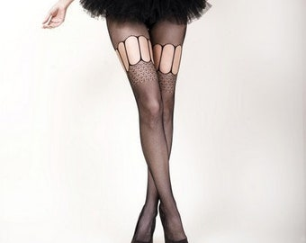2ca41d483df KILLER LEGS Lady s Garter Cut-Outs Fishnet Tights