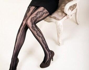 83a4b693a9fff KILLER LEGS Lady's Stenciled Bouquet Fishnet Tights, Yelete Killer Legs  Women's Sexy Black Fishnet Pantyhose,