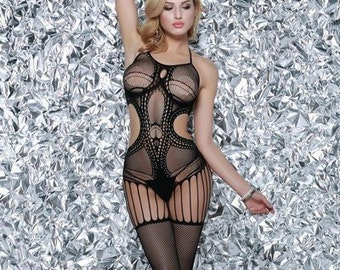 798d4ea79 KILLER LEGS Cut Out Patterned Mesh Bodystocking