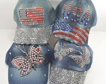 Rhinestone   Sequins   Faux Pearl Hat Available in USA or Butterfly or US  FLAG Blue Denim Hat 9388f47591f