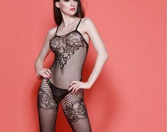 b96dccb7a Fishnet Lace Front Bodystocking