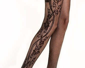 7904c7d7140874 Queen size KILLER LEGS Lady's Side Whimsical Floral Inset Fishnet Tights,  Yelete Killer Legs Women's Sexy Black Fishnet Pantyhose,