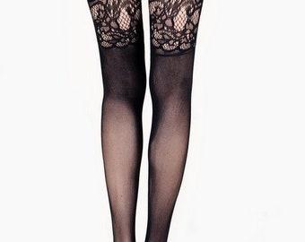 2e95b77d1e409 KILLER LEGS Ladies Touch Of Lace Fan Faux Garters Fishnet Pantyhose, Yelete Killer  Legs Women's Sexy Black Fishnet Pantyhose,