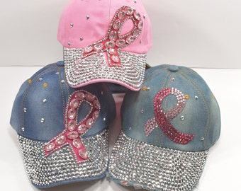 0efb1838 Rhinestone / Sequins Pink Ribbon Breast Cancer Hat Available in PINK or  DENIM, Hat, cap, Denim cap / hat for women / Cap For Women